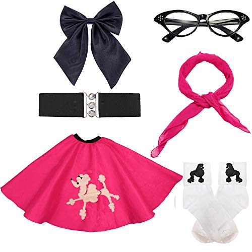 50s Girls Costume Accessory Set - Poodle Skirt,Elastic Cinch Belt,Ponytail Holders,Chiffon Scarf,Cat Eye Glasses,Bobby Socks,Hot Pink