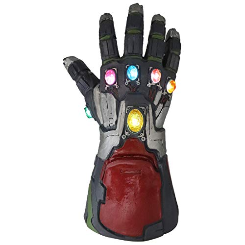 Iron Man Gauntlet Gloves Thanos with Keychain Latex Infinity Gloves Movie Cosplay (Gray Red)