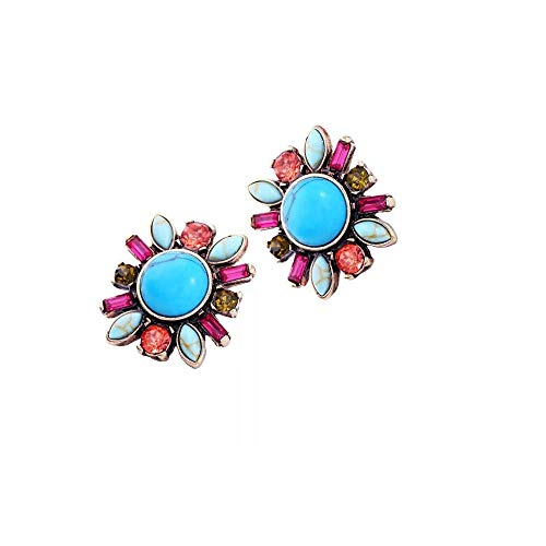 Newyht Natural Turquoise Crystal Fashion Earrings Classic Vintage Dangle Drop Earrings for Women Girls (Blue-02)