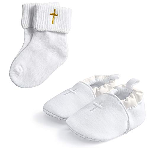 (HAPIU Baby Baptism Cross Shoes with White Baptism Cross Socks,2 Pack,0-3M)