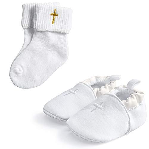 HAPIU Baby Baptism Cross Shoes with White Baptism Cross Socks,2 Pack,0-3M