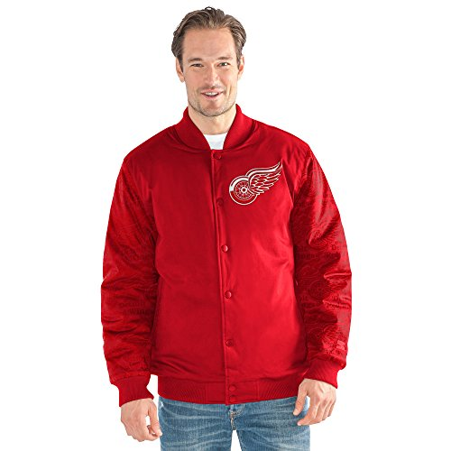 STARTER NHL Detroit Red Wings Men's Varsity Bomber Jacket, 5X, Red (Detroit Red Wings Snap)