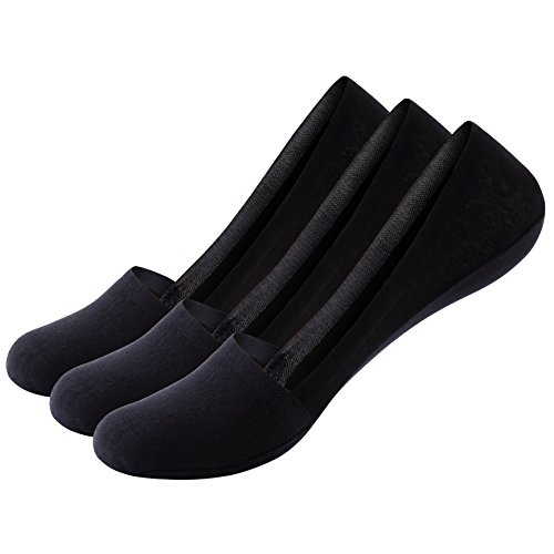 Mens No Show Socks Non Slip Socks Anti Slide Low Cut Invisible Casual Loafer Socks Boat Shoe Liners 3 6Pack Black