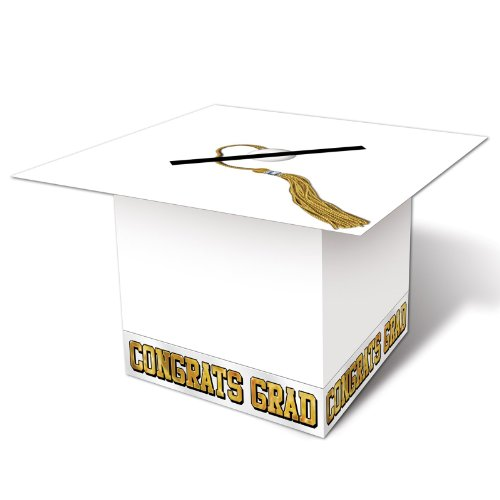 (Grad Cap Card Box (white) Party Accessory  (1 count))