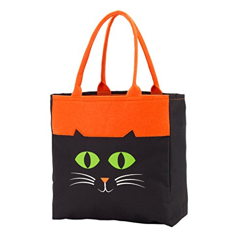 Custom Personalized Character Halloween Bag Trick or Treat Tote Storage (Black Cat - Blank)