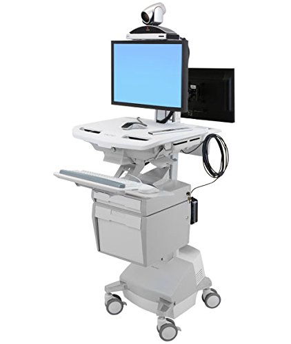 Ergotron SV44-57T1-2 StyleView Telemedicine - Cart for 2 LCD displays/keyboard/mouse/CPU/notebook/camera/scanner (open architecture) - medical - plastic, aluminum, zinc-plated steel - (Ergotron Styleview Notebook Cart)