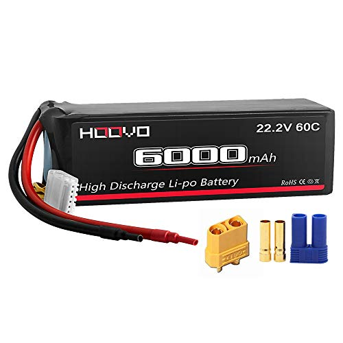 HOOVO 6S 22.2V 6000mAh 60C LiPo Battery Pack with XT90 and EC5 Plug for RC Quadcopter Airplane Helicopter UAV Drone FPV (Battery Rc Helicopters)