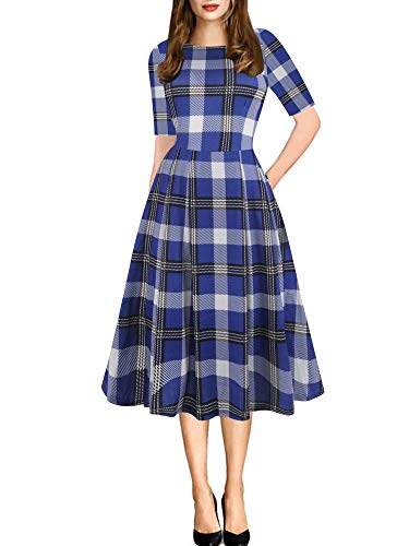 oxiuly Women's Classic Plaid Pockets Party Cocktail Swing Dress OX165 (L, Blue Fu Plaid)