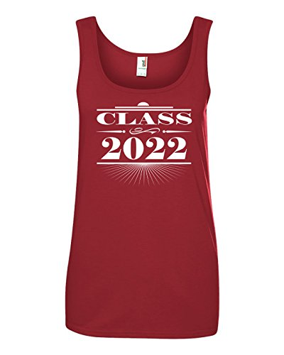 Tenacitee Women's Art Deco Class of 2022 Tank Top, Medium, Independence Red ()