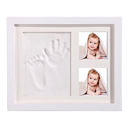 Coohole Baby Photos Handprint Kit & Footprint Photo Frame for Newborn Girls and Boys, Baby Photo Album For Shower Registry, Personalized Baby Gifts, Decorations for Room Wall Nursery Decor (White) ()