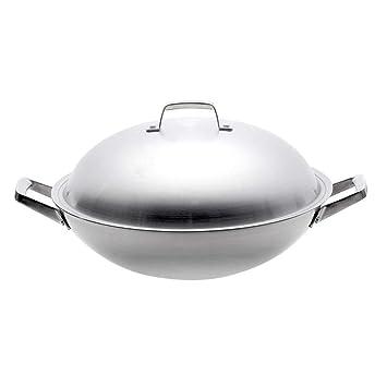 PZXY Wok Acero inoxidable Wok no humo General cocina Wok 40 ...