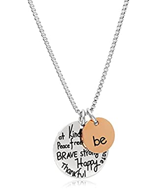 """Stainless Steel Two-Tone Charm Necklace with Inspirational Pendant, 18"""", By Regetta Jewelry"""