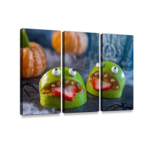 Healthy Halloween Apple Monsters Fruit Kids Treat Print On Canvas Wall Artwork Modern Photography Home Decor Unique Pattern Stretched and Framed 3 -