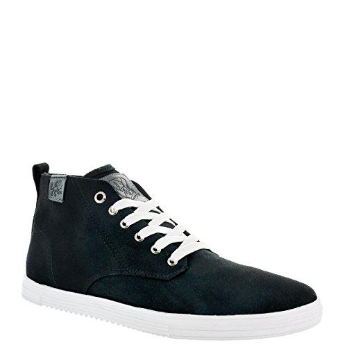 Vlado Footwear Mens Leon Sneaker Mid Top In Canvas Nero / Bianco
