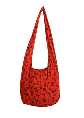 BTP! Skull Punk Rock Hippie Hobo Thai Cotton Sling Crossbody Bag Messenger Purse (Red SK4) by BenThai Products