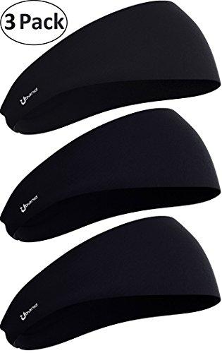 - Self Pro Mens Headbands 3-Pack Guys Sweatband & Sports Headband Running, Crossfit, Working Out - Performance Stretch & Moisture Wicking (3-Pack/Black + Black + Black)