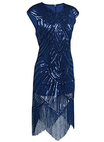 Aecibzo Des Années 1920 Gatsby Art Nouveau Sequin Femmes Embelli Robe Garçonne Frangé Bleu Foncé