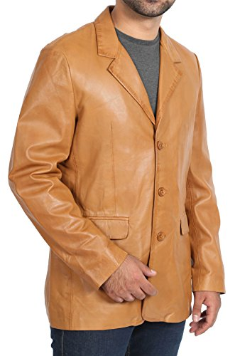 Supple Leather Blazer (Mens Tan Blazer Leather Jacket Classic Casual Fitted Soft Leather Coat - Jim (Large))