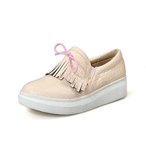 AllhqFashion Damen Ziehen auf Rund Zehe Mittler Absatz Rein Pumps Schuhe Nackte Farbe