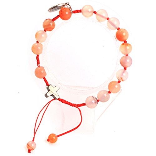 GEM-inside 8mm Red Leaf Carnelian Handmade Catholic Christian Prayer Rosary Beads Cross Bracelets Adjustable Jewelry