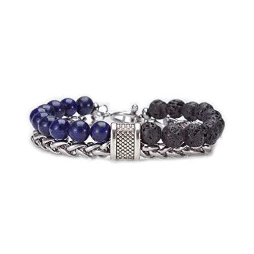 ZHEPIN 8MM Charm Beads Bracelet Stainless Steel Link Double Layer Bracelet for Men Boy, 8