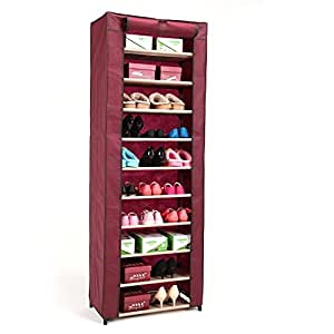 AOJIA Organizador de tela de zapatos, zapatero con 10 estantes (61 x 32 x 169 cm, resistente al polvo)