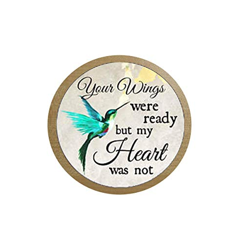 FATS Commemorating The Charm Your Wings are Ready but My Heart is not, Losing Loved Ones in Memory, Sadness or Loss ice Box Sticker,Blackboard Sticker Quote Pendant -