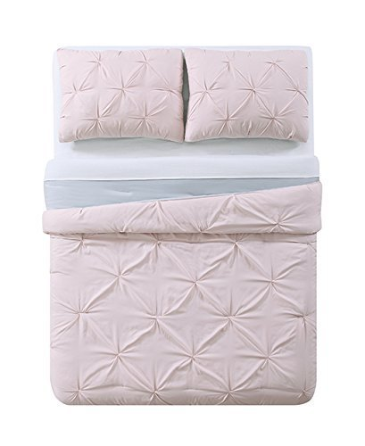My World LHK-COMFORTERSET Pleated Reversible Full/Queen Comforter Set, Blush/Silver Gr (Brooklyn Light Set)