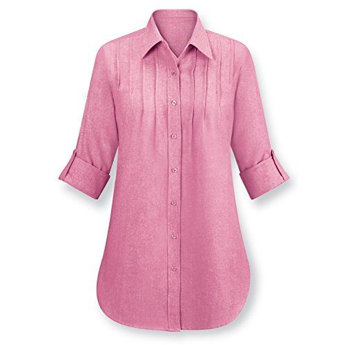 Womens Chambray Pintuck Button Cotton