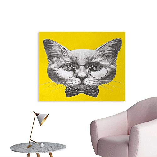 Tudouhoho Animal Art Poster Hand Drawn Portrait of Cute Cat with Glasses and Bow Tie Sketch Hipster Print Photographic Wallpaper Yellow Grey White W32 xL24