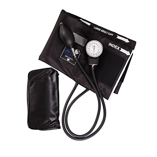 MABIS Legacy Series Aneroid Sphygmomanometer Manual Blood Pressure Monitor with Calibrated Black Nylon Arm Cuff, Cuff Size 13 to 20 Inches, Zippered Carrying Case, Large Adult