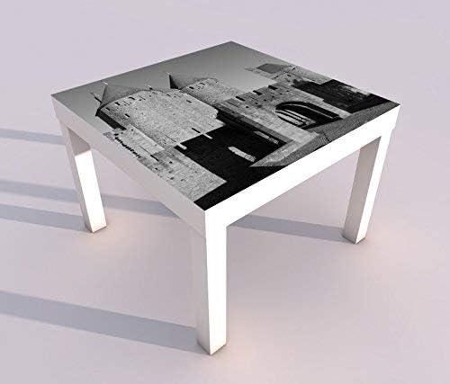Diseño - Mesa con UV Impresión 55x55cm Negro Blanco Puerta Edad Media Castillo Candado Torre Carcassonne Francia Mesa de Juegos Laca Tablas Imágenes Dormitorio Infantil Mueble 18A1625-55x55cm: Amazon.es: Hogar
