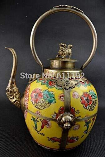ZAMTAC Home Decoration Tibet Silver Ceramic teapot,Chinese Antique Big Cloisonne Lion Flagon ()