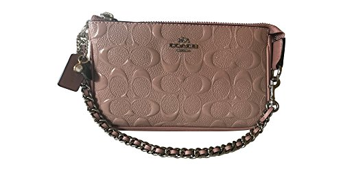 Coach Signature Debossed Patent Leather Large Wristlet, Blush 2 by Coach