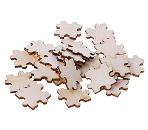 Malayan - 200 Pack Blank Wooden Puzzle Pieces   Crafting Wood Jigsaw   DIY Wooden Puzzle