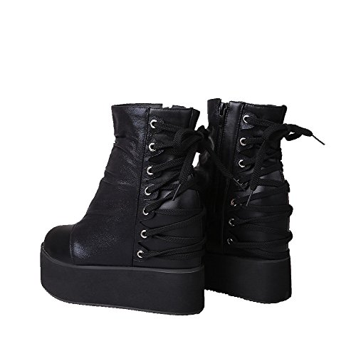 Closed Heels High Zipper Boots Soft Low Toe Round Allhqfashion top Women's Black Material 0wzH4aqRx
