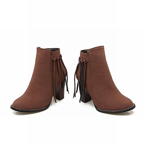 Brown Nubuck High Tassels Sexy Womens Mee Shoes Boots heel high Ankle qPgwv