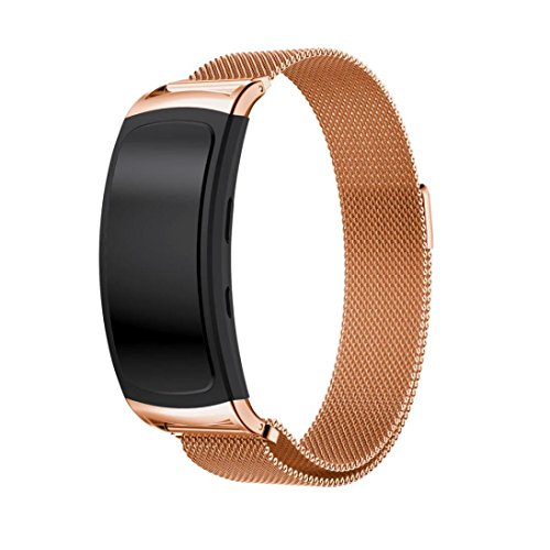 Voberry Milanese Magnetic Loop Stainless Steel Band Strap For Samsung Gear Fit2 Pro (Rose Gold) by Voberry