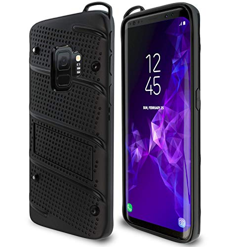 Samsung Galaxy S9 Case | Military Grade | 15ft. Drop Tested | Protective Case | Kickstand | Shockproof | Wireless Charging | Dual Layer Heavy Duty | Compatible with Samsung Galaxy S9 - Black