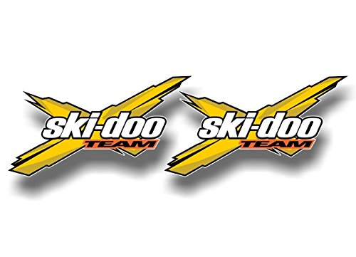 2 TEAM SKI DOO Racing YELLOW 5.5'' Decals Graphics Snowmobile SkiDoo Sled Trailer Vinyl Stickers ((2) 3