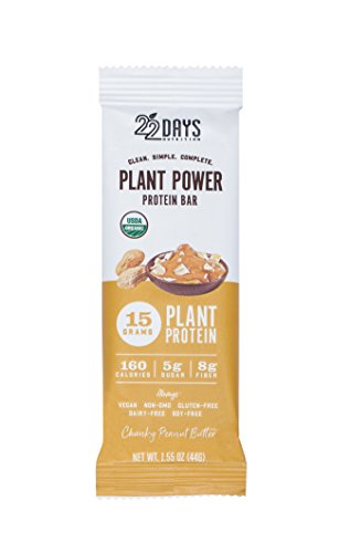 22 Days Nutrition Low Calorie Organic, Gluten Free, Vegan, Soy Free, Dairy Free, Real Food, 15g Protein, Low Sugar (5g), Fiber (8g) Chunky Peanut Butter Plant Based Protein Bars, 4 Count (Vegan No Soy Protein Powder)