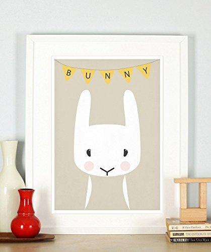 Nursery decor, nursery poster, nursery art print, bunny, woodland animals for kids, retro art print, A3