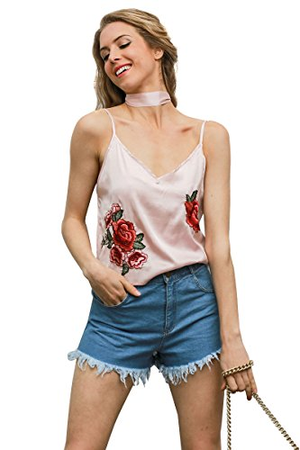 Mflying Women Summer Flower Embroidered Tank Tops Halter Camisole Vest (Small, - Cool Or Skin Tone Warm