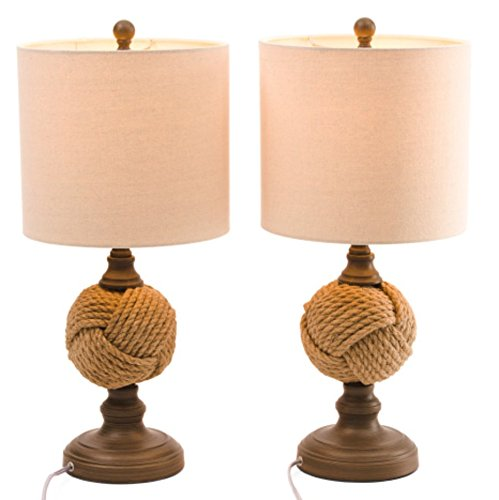 J Hunt Monkey Knot Antiqued Column Table Lamps With Shade Set