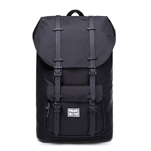Bodachel Travel Backpacks for Men and Women, Water Resistant Hiking Camping Rucksack Pack, Large School Laptop Backpack for College Fits 15.6 Inch, Casual Working Daypack Bag – Black