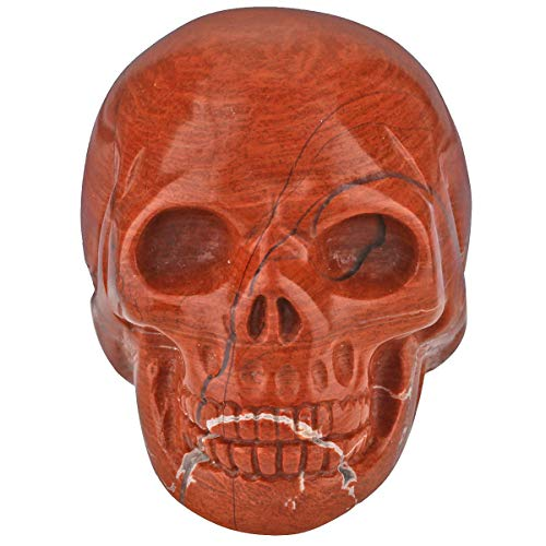 TUMBEELLUWA Carved Skull Healing Stone Crystal Quartz Figurine Energy Statue Reiki Home Decoration 1.5