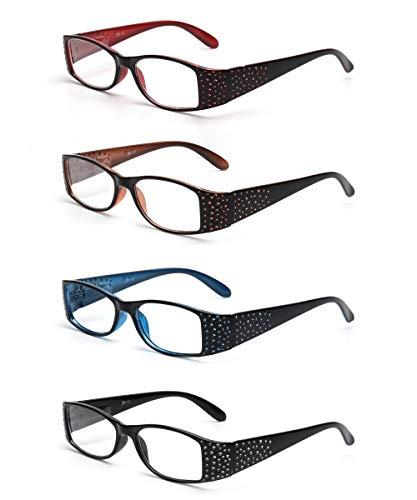 JM 4 Pack Ladies Reading Glasses Vintage Rectangular Spring Hinge Readers for Women +1.5 Mix Color