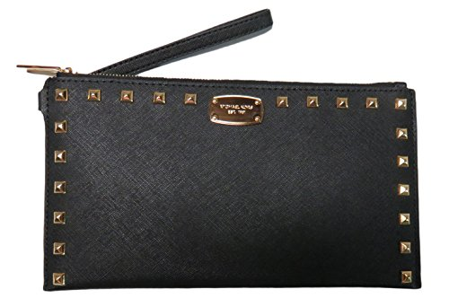 Micheal Kors Sandrine Stud Leather Large Zip Clutch Wristlet Black by Michael Kors