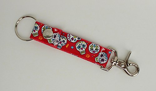 Sugar Skulls Red Day of the Dead - Handy Clip, Snap, & Ring Style Key Webbing Fob Keychain