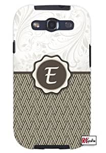 Monogram Initial Letter E Unique Quality Soft Rubber TPU Case for Samsung Galaxy S3 SIII i9300 - White Case